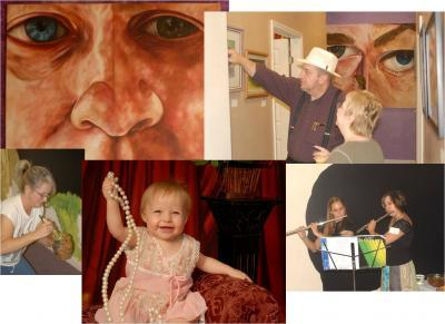 collage of images such as paintings and musicians
